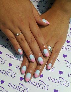 by Klaudia Demkiewicz Indigo Young Team :) Follow us on Pinterest. Find more inspiration at www.indigo-nails.com #nailart #nails #indigo #pastel #ombre #pink #babyblue