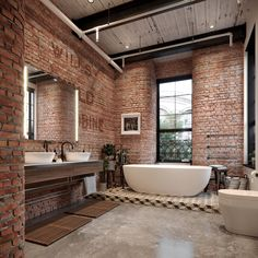 The imperfect beauty of exposed brick has been successfully giving a new identity in bathroom decorating world. The evolution in bathroom decoration has created so [.] wall Exposed Brick Bathroom Ideas You Must See Brick Bathroom, Bathroom Interior, Interior Design Living Room, Marble Bathrooms, Master Bathrooms, Bathroom Mirrors, Bathroom Cabinets, Interior Brick Walls, Luxury Bathrooms