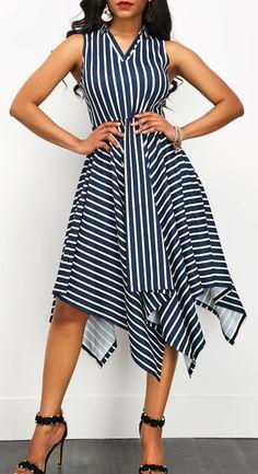 Stripe Print Asymmetric Hem Sleeveless V Neck Dress, homecoming dress, slight, fashion, cute, free shipping worldwide at rosewe.com, don't miss.