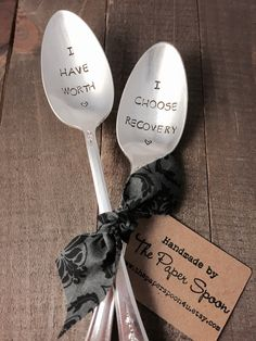 You have worth and I choose recovery vintage hand stamped tea spoon set created by The Paper Spoon - recovery gift, self help by ThePaperSpoon4U on Etsy https://www.etsy.com/listing/249463266/you-have-worth-and-i-choose-recovery