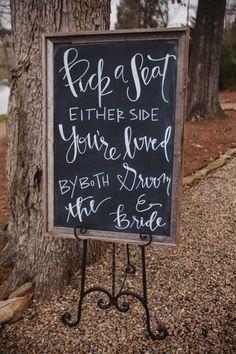 Pick a Seat Wedding sign / http://www.himisspuff.com/rustic-wedding-signs-ideas/5/
