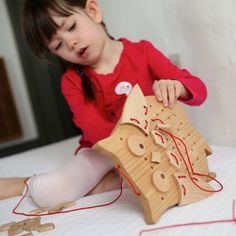 Ollie Bird! Solid Wood Sewing Puzzle by Elephant Playthings. Handmade in the USA.
