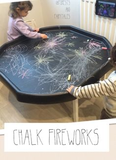 Tuff tray + chalks + stimulus Practise writing sounds and secret word boards on 'night sky' stick some stars on! Bonfire Night Activities, Bonfire Night Crafts, Bonfire Ideas, Happy Birthday Fireworks, Happy New Year Fireworks, Diwali Fireworks, Fireworks Art, Diwali Activities, Halloween Activities