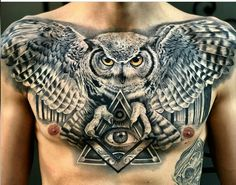 Aug 2019 - Today we're going to step again into the world of animal tattoos bringing you 50 of the most beautiful owl tattoo designs, explaining their meaning. Owl Neck Tattoo, Owl Tattoo Back, Mens Owl Tattoo, Wing Tattoo Men, Neck Tattoo For Guys, Owl Sleeve Tattoos, Owl Tattoos For Men, Hand Tattoos For Guys, Chest Tattoo Wings