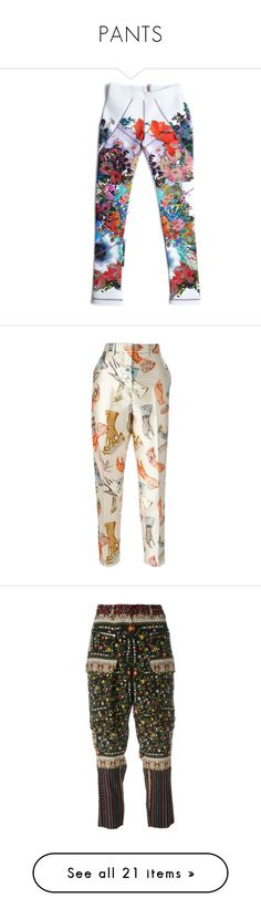 """""""PANTS"""" by kareng-357 ❤ liked on Polyvore featuring pants, leggings, bottoms, print, trousers, white forced perspective, patterned leggings, white pants, print pants and patterned pants"""