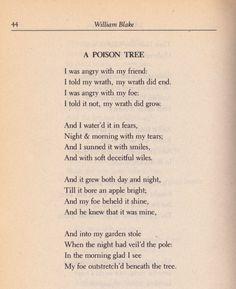 The Poison Diaries — greencrook: William Blake: A Poison Tree