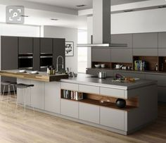 Contemporary style kitchen designs are among the methods to go. You do not require a complicated kitchen so it will be stick out, just some unique designs that can make your kitchen area the envy of the neighbors. Kitchen Room Design, Luxury Kitchen Design, Contemporary Kitchen Design, Luxury Kitchens, Home Decor Kitchen, Interior Design Kitchen, Home Kitchens, Contemporary Wallpaper, Contemporary Interior