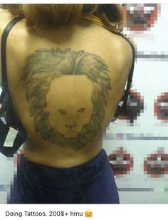 King of the jungle / fivehead – Bad Tattoos – The Worst Tattoos Online Really Bad Tattoos, Terrible Tattoos, Funny Tattoos Fails, Tattoo Fails, Dope Tattoos, Back Tattoos, Worst Tattoos, Tattoos Gone Wrong, Lion Tattoo Sleeves