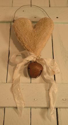 Primitive Punch Needle Shabby Chic Heart Ornament by Gollywobbles, $12.00