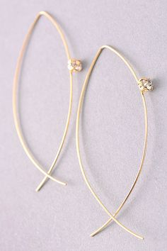 free hanging wire hoop in gold #fashionjewelry #earrings