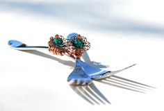 Wedding CAKE FORKS decorated in Swarovski crystal and glass with copper filagree copper flower mr and mrs forks by www.beadz2pleaz.etsy.com