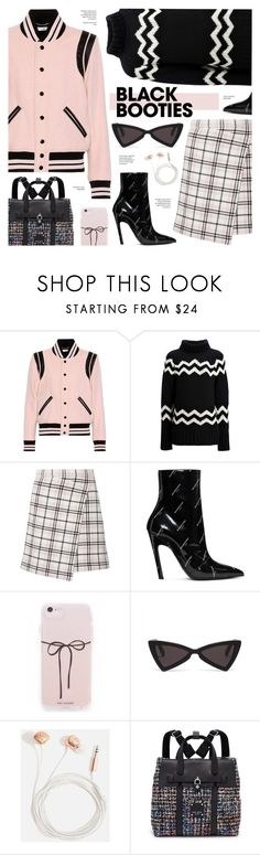 """Back to Basics: Black Booties"" by cly88 ❤ liked on Polyvore featuring Yves Saint Laurent, Joseph, Carven, Balenciaga, Skinnydip and Henri Bendel"