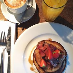 Coffee with a Canadian pancake stack | Amanda Start | onlinestylist on Instagram