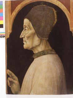 Attribuito a Gentile Bellini, San Lorenzo Giustiniani (1465 ca. ) - Di nobile nascita, fondò insieme ad altri aristocratici la Congregazione dei Canonici di San Giorgio in Alga, di cui fu anche eletto priore e poi generale (1424). Già vescovo di Castello ( Rialto ), nel 1451 fu eletto primo Patriarca di Venezia. Morì nel 1456.