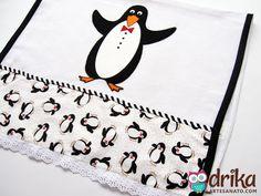 Panos de prato com Pinguim em patch aplique