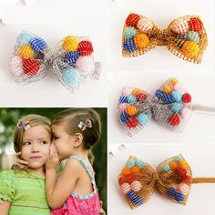 #MD60112 Cute Acessorio Para Cabelo Colorful Fur Ball Head Bandage Girls Hair Accessories Sliver/Gold Hair Bows Headbands