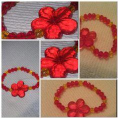 Girls red & yellow stretch bracelet. Girls jewelry.