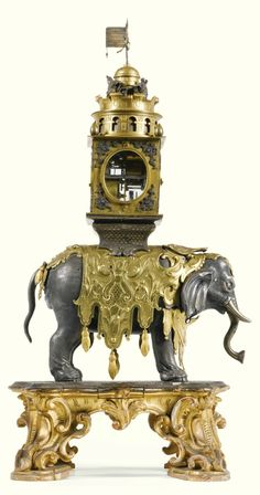 A silver and gilt-copper elephant automaton clock, Augsburg, circa 1630 and later