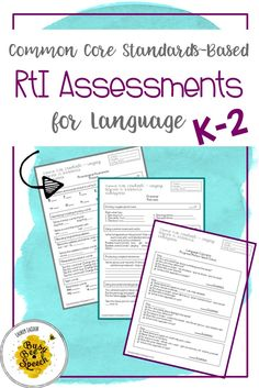 Track that RtI data in your speech therapy sessions with these Pre and Post assessments that are based on CC standards! These target language skills for kindergarten through second grade.