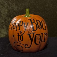 """Hallmark Large Faux Carved """"Happy Boo to You"""" Pumpkin Halloween Decor by Hallmark. $49.95. Large Faux Carved Pumpkin """"Happy Boo to You"""". Dimensions (L x W x H): 9.75 x 9.75 x 9.93 inches. Materials: Resin. Large Faux Carved Pumpkin """"Happy Boo to You"""". This """"faux carved"""" pumpkin will add style to your holiday decorations. Great to use year after year, it makes quite a statement."""