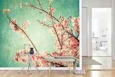 Vlies fotobehang Cherry blossom vintage - Bloemen behang   Muurmode.nl Wall Design, Exterior, Living Room, Wallpaper, Amazing, Flowers, House, Painting, Inspiration