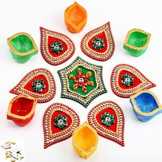 Acrylic Diamond Rangoli with Diyas - Online Shopping for Diyas and Lights by Ghasitaram Gifts