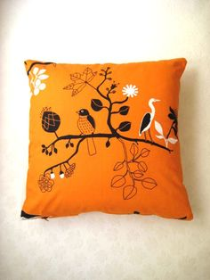Eco-Friendly Cotton Orange Pillow Cover with Black by MyDreamHome