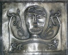 A detail from The Gundestrup Cauldron, Wonderfully decorated, made from Silver, circa 200BC-300AD.