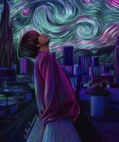 V - Kim Taehyung - Starry Night Fanart by Fanart Bts, Taehyung Fanart, V Taehyung, Jhope, Foto Bts, Fan Art, Artist Van Gogh, Kpop Memes, Bts Drawings
