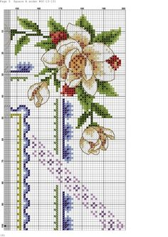Cross stitch - flowers: Magnolia and fruit (chart - part A3)