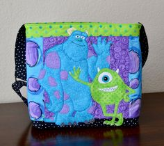 Disney Monsters INC Large Cross Body Bag Purse Custom Applique Disney Monsters, Monsters Inc, Free Motion Quilting, Cross Body, Purses And Bags, Applique, Crossbody Bag, Buy And Sell, Hand Painted