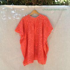 Poncho coral crochet