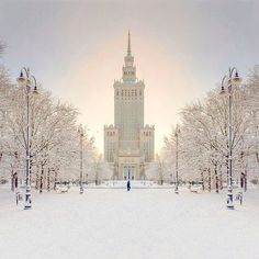 Snow in Warsaw Poland