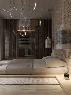 Wabi sabi on Behance Asian Bedroom Decor, Room Design Bedroom, Modern Bedroom Design, Bed Design, Japanese Inspired Bedroom, Japanese Bedroom, Japanese Interior Design, Home Interior Design, Interior Architecture