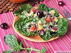 Cherry Peach Quinoa Salad | SugarFreeMom.com
