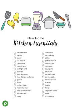 You've moved into your new home and stocked your pantry and fridge. Now it's time to get cooking! Here's a handy checklist of all the essential kitchen gadgets, tools, and accessories that will help you get started. On your next Publix shopping trip to pi First Apartment Checklist, New Home Checklist, Moving Checklist, Moving Tips, First Apartment Essentials, My First Apartment, New Home Essentials, Pantry Essentials, List Of Kitchen Essentials