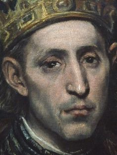 GRECO (El),1585-90 - St Louis, Roi de France, et un Page (Louvre) - Detail -c