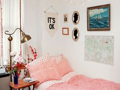 This Barnard College student's room pairs a vintage map and framed ocean painting with silhouettes of her parents, offering up a subtle nod to old-meets-new style.