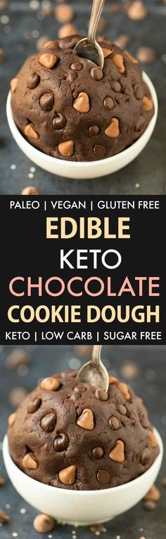 Edible Low Carb Keto Chocolate Cookie Dough (Paleo, Vegan, Eggless, Flourless)- a 5-minute recipe for healthy edible cookie dough made without eggs, without sugar and without flour- 100% safe to eat raw and the perfect dessert or snack to satisfy the sweet tooth! #ketodessert #rawcookiedough #ediblecookiedough #cookiedough #lowcarb | Recipe on thebigmansworld.com