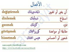 Verbs in Turkish أفعال باللغة التركية Learn Turkish Language, English, Map, Learning, Blue, Turkish Language, Language, Turkey, English Language