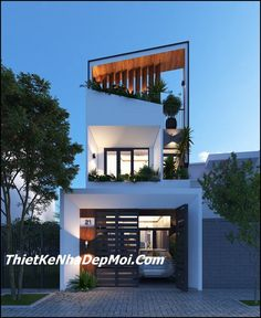 Nhà ống 1 trệt 1 lầu 4m hiện đại Loft House Design, Minimal House Design, House Front Design, Narrow House Designs, Modern Exterior House Designs, Morden House, Indian Home Design, Townhouse Designs, House Elevation