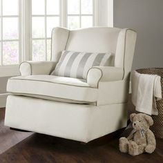 Eddie Bauer® Wingback Upholstered Rocker - vanilla $320