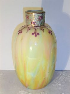HARRACH OPAL MARMORIERTES ENAMELED GLASS VASE. Circa 1900- www.madforglass.com Glass Collection, Glass Vase, Opal, Enamel, Home Decor, Vitreous Enamel, Decoration Home, Room Decor, Opals