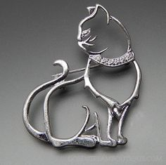 Sterling Silver Open Design Cat With Collar Brooch