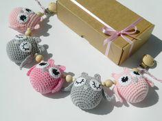 Light pink crochet stroller toy Pram chain with от PatiikCrochet