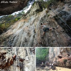 Experience the thrill of Rock Climbing in Krabi. Whether you are an adrenaline junkie or somebody who wants to try out something new, scaling the massive limestone rocks would be an adventure you would remember for life. Krabi is one of the most sought after areas for rock climbing in the World, and remember that the view of the sea from the top of the lofty rocks is nothing but mysterious!  #Rock_Climbing #Adventure #Krabi #Thailand Limestone Rock, Krabi Thailand, Rock Climbing, Mysterious, Rocks, Sea, Adventure, World, Life