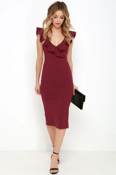 cocktail dress with ruffle detail // love the wine color