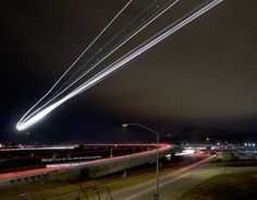 long exposure plane landing