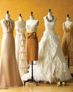 Love the collection of dresses, a great way to vary bridesmaids dresses...