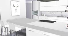 Liney Sims: Modern White Kitchen • Sims 4 Downloads